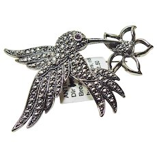 Hummingbird in Silver color Metal with Marcasites