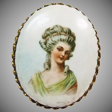 Porcelain Brooch with Portrait of a Victorian Woman