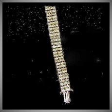 1920's-1930's Deco White Rhinestone Line Style Bracelet