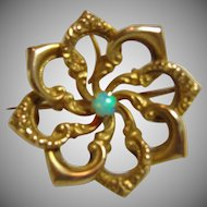 Victorian Gold Over Brass Watch Pin with Opal