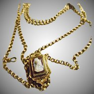 Victorian Guard Watch Chain with Large Slide with Hardstone Cameo