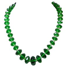 Dark Green and Clear Crystal Necklace