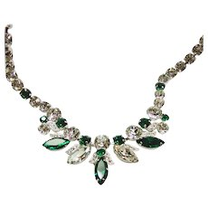Eisenberg Ice Emerald Green and Clear White Rhinestone Necklace