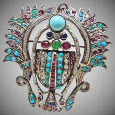 Vintage Egyptian Silver Scarab with Turquoise, Synthetic and Natural Rubies, Sapphires, Emeralds and White Paste Stones