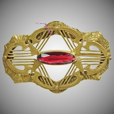 Victorian Sash Pin in Colors of Red and Gold