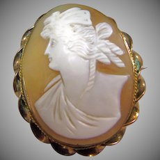 Victorian Shell Cameo in Gold Over Brass Twisted Wire Setting