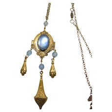 1920s-1930s Faux Moonstone and Brass Pendant Necklace