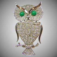 White Rhinestone Owl Pendant/Brooch