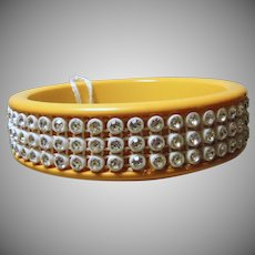 Gold Cuff Bakelite Bracelet with 3 Rows of White Rhinestones