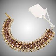 Faux Opal and Purple Rhinestone Bracelet