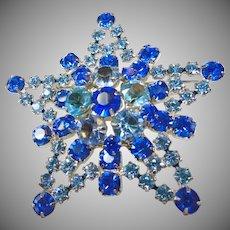 Juliana Star Brooch in Shades of Blue
