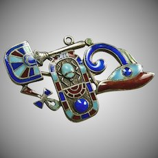 1920s Egyptian Revival Pin Made Up of the Eye of Horus, Plaque with Scarab , Egyptian Fan and Ankh