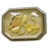Victorian Pin Brooch Flower Reverse Carved and Painted Shades of Yellow