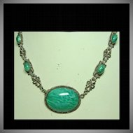 1930s Choker Necklace of Faux Green Jade and Silver Color Metal