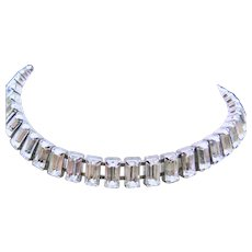 1920's - 1930's  Baguette Clear Rhinestone Necklace
