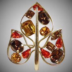 Leaf Shape Pendant/Brooch in Fall Colors of Gold, Brown, Topaz and Bright Orange