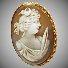 Pin/Pendant Shell Cameo of Diana