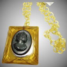 Bakelite Cameo in Celluloid Frame on a Chain
