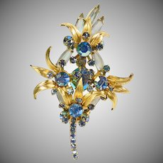 Juliana Gold and Iridescent Floral Brooch