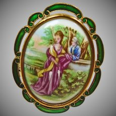 English Pin/Pendant with Porcelain Picture of a Man and Woman with Enamel Decoration on the Edges