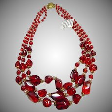 Red and White Acrylic 3 Strand Bead Necklace