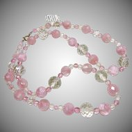 Necklace of Facetted Clear and Pink Beads Alternating with Peppermint Pink Lampworked Beads