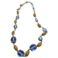 Vintage Blue Paperweight Graduated Glass Bead Necklace