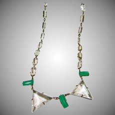 !920s Deco Necklace of Green and Clear Glass Crystal