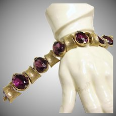 Art Faux Amethyst and Brushed Gold Tone Metal Bracelet