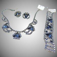 Three Piece Blue Rhinestone Set
