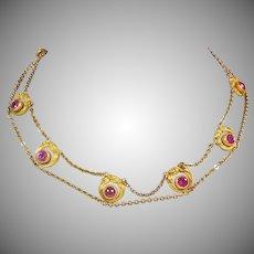 Art Nouveau Gold Brass Necklace