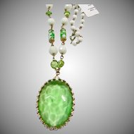 White Milk Glass and Green Glass Necklace