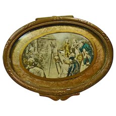Antique French Victorian Brass with Gold Finish Velvet Painted Trinket Ring Box
