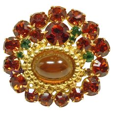 Rhinestone Broach with Amber Cabochon and Etruscan Style Decoration