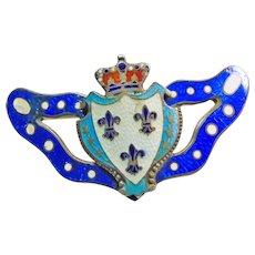 Victorian Sterling Silver Crown Motif Enameled Brooch