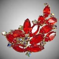 Brilliant Deep Red and Iridescent Rhinestone Brooch