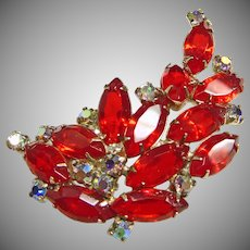 Brilliant Deep Red and Iridescent Rhinestone Brooch