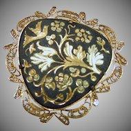 Damascene Heart Shape Brooch with Floral MOtif