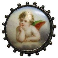 Victorian Cherub on Porcelain Pin