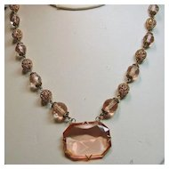 Czech Brass Filigree and Pink Molded Glass Necklace from 1930s