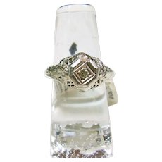 Sterling Silver 1920's Filigree Ring with Paste Stone