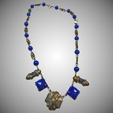 1930's Silver Over Brass Egyptian Revival Faux Lapis Necklace