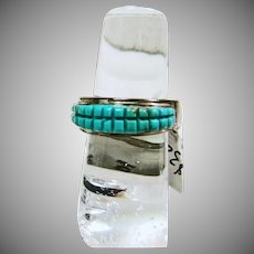 Sterling Silver Band Style Ring with Two Corn Rows of Turquoise
