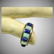 Lapis and Opal Sterling Silver Band Style Ring