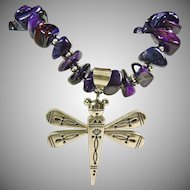 Hopi Dragon Fly Pendant on Necklace of Sugilite Chips