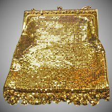 Stunning Whiting and Davis Gold Mesh Purse with Rhinestones