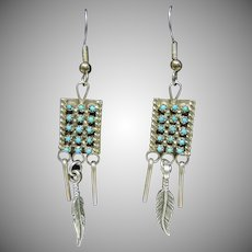 Sterling Silver Earrings with Petit Point Turquoise