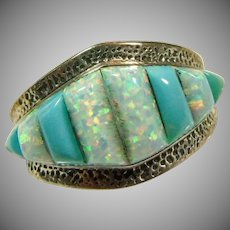 Sterling Silver Opal and Turquoise Corn Row Ring