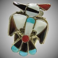 Sterling Silver Thunderbird Bolo Clip Decorated with Stone on Stone Inlay