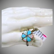 Sterling Silver Opal and Turquoise Flower Shape Ring
